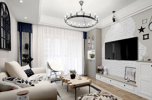 白色北欧风空间,慵懒舒适有品位,文化石电视背景墙真好看!