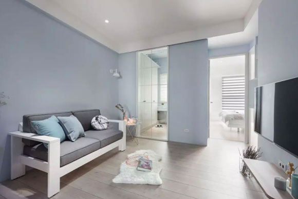 9套温馨惬意的客厅装修,淡蓝色墙面特别漂亮,会有你喜欢的吗?
