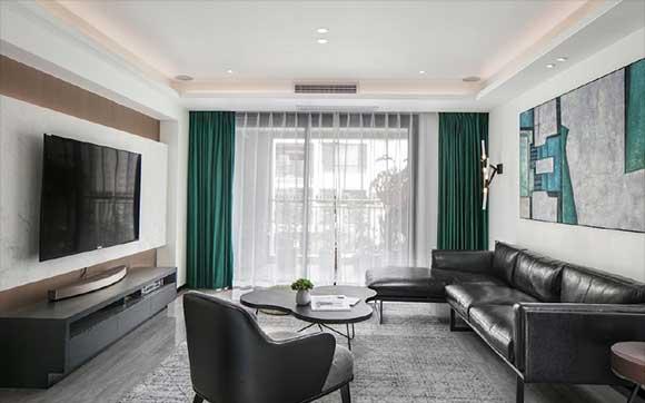 现代风格装修的大户型空间,绿色窗帘黑色沙发真大气,太高级了!