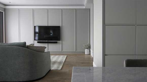 灰色调的轻奢时尚空间,沙发墙设计真少见,精致优雅很温馨,晒晒!