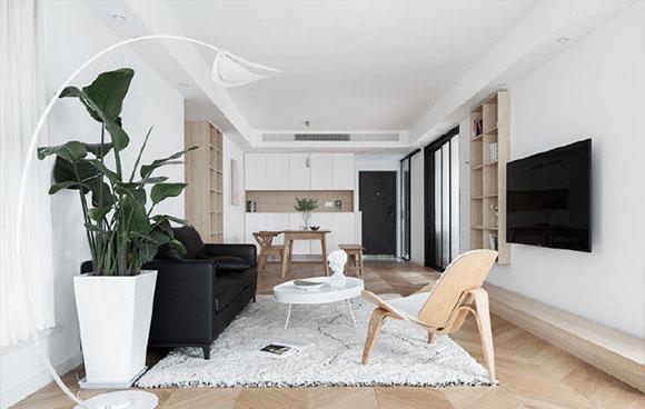 很纯粹的简约风格装修,白色空间通透明亮,极简的设计轻松舒适!