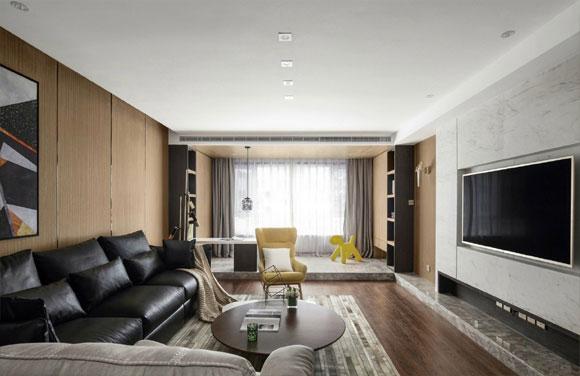 简约时尚的现代风格装修,阳台打通地面抬高,改成娱乐室真心实用!