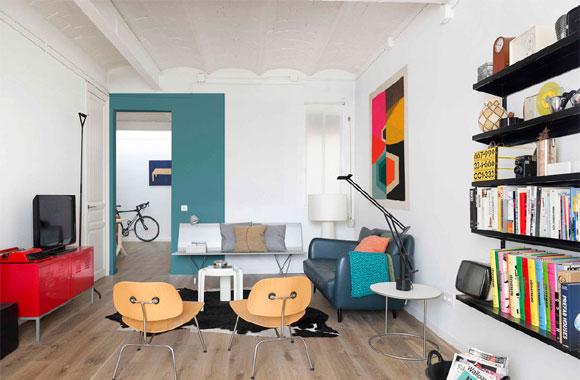 颜色多而不乱的单身公寓装修,设计简洁明快很时尚,太nice了!