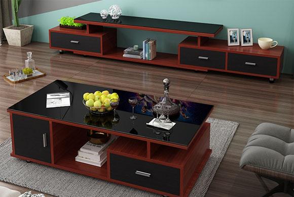 蓝影简约现代钢化玻璃可伸缩电视柜茶几组合